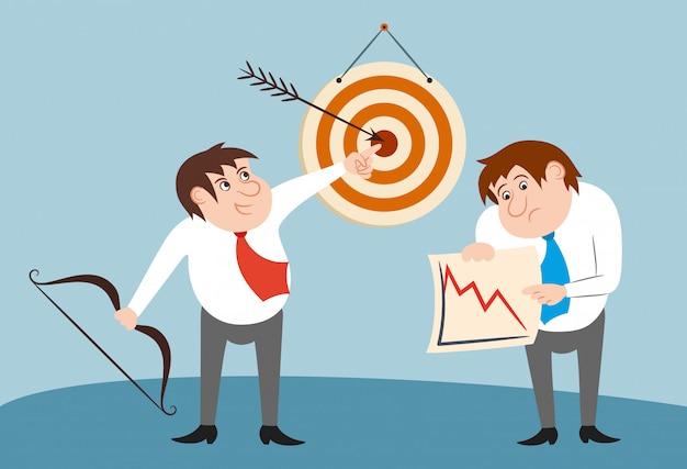 Ganador de personajes de negocios y concepto de perdedor