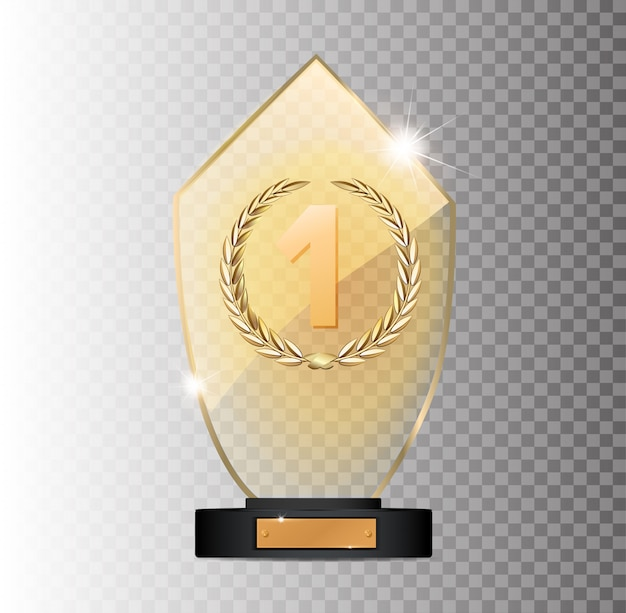 Ganador del premio rectangular de vidrio dorado 1er lugar ganador sobre un fondo gris