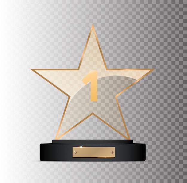 Ganador del premio rectangular de vidrio dorado ganador del lugar sobre un fondo gris