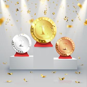 Ganador. primer lugar de competencia. podio con focos y confeti.