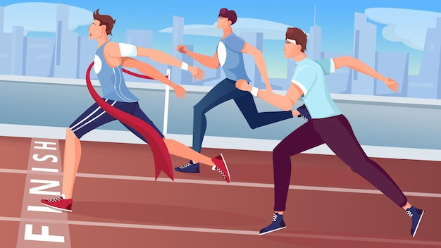 El ganador termina la composición plana con vista a la pista de carreras al aire libre con el paisaje urbano y la ilustración de personajes de atletas en ejecución