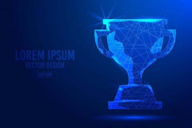 Ganador trofeo de la copa sobre un fondo abstracto azul. premio deportivo, concepto, campeonato, premio deportivo lineal y poligonal en 3d.