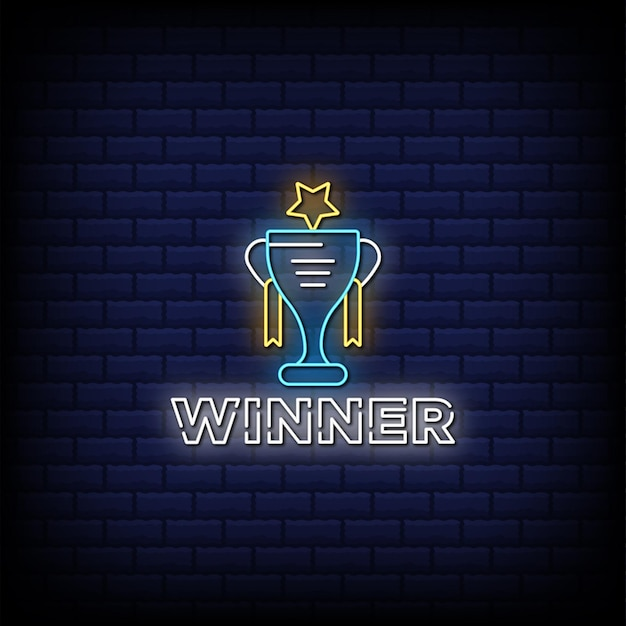 Ganador trofeo letreros de neón estilo texto