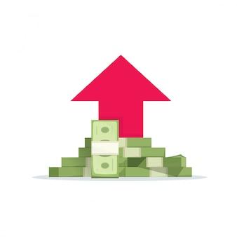 Ganancia de dinero o ingresos financieros crecimiento vector ilustración plana de dibujos animados