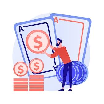 Ganancias de juego, suerte y oportunidad, premio mayor. casino, póquer, juego de cartas gana. ganador de dinero, jugador, personaje de dibujos animados de jugador de cartas