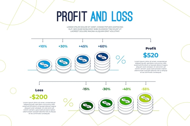 Ganancias y pérdidas - concepto de infografía