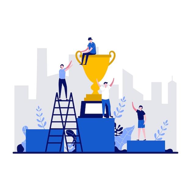 Ganar el concepto de éxito empresarial con carácter diminuto.