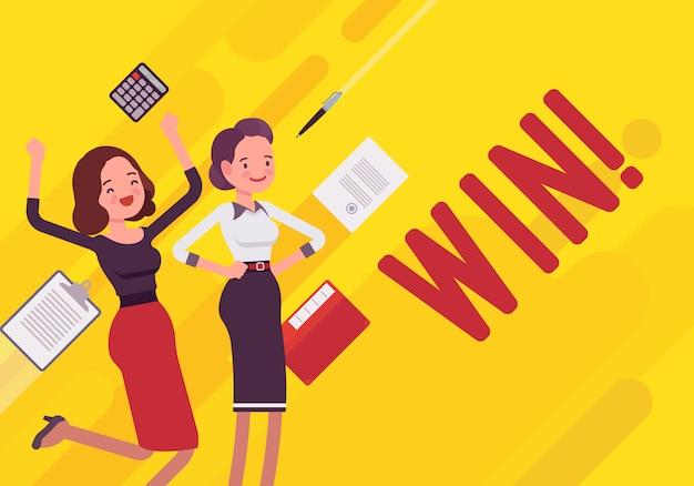 Ganar. ilustración de motivación empresarial