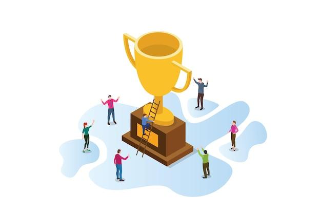Ganar juntos en la ilustración de negocios