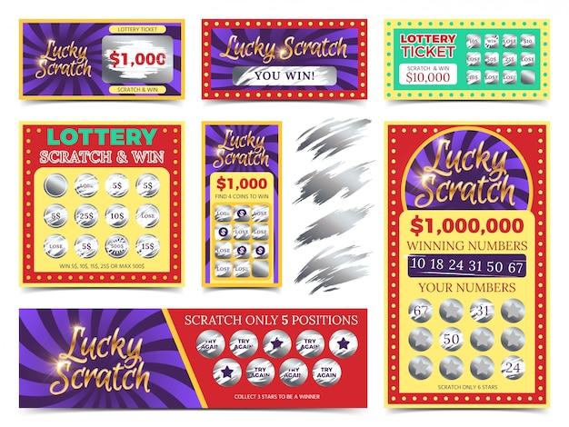 Ganar lotería boletos y tarjetas de rascar vector set