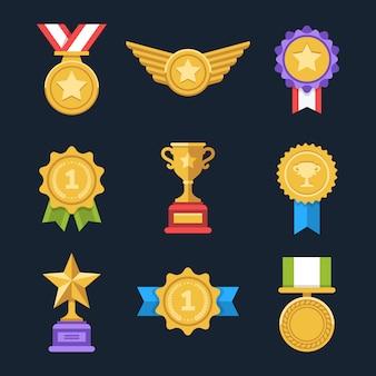 Ganar medallas conjunto. coloridas medallas de premio planas. ilustración.
