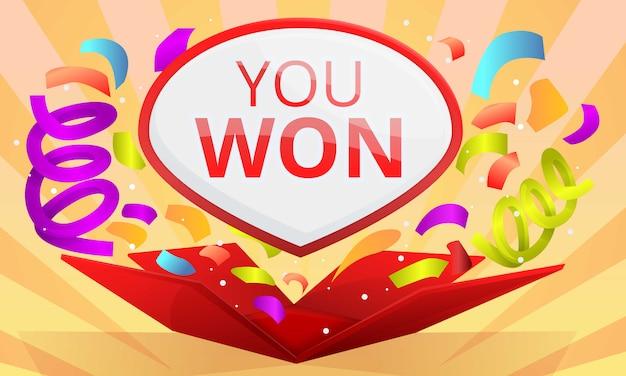 Ganaste el banner del concepto de concurso, estilo de dibujos animados