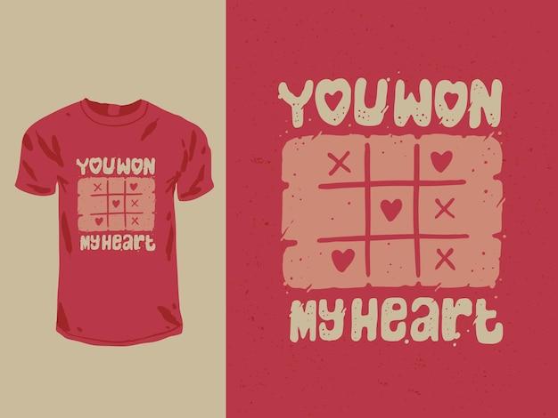 Ganaste mi corazón diseño de camiseta de san valentín
