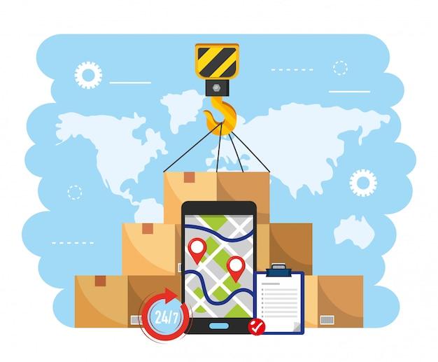 Gancho de grúa con paquete de cajas y mapa gps para smartphone.
