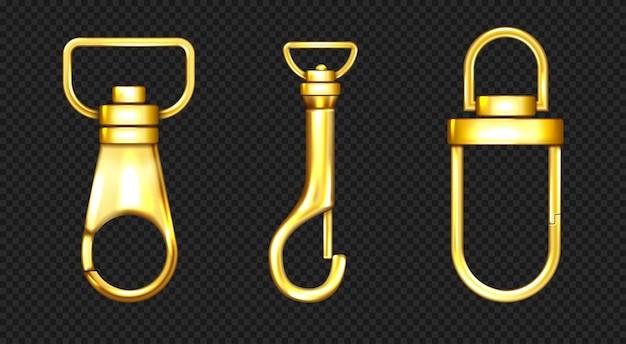 Gancho de mosquetón y cordón accesorios de oro
