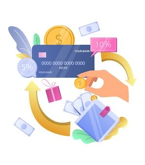 Gane un bono de devolución de efectivo, devolución de efectivo, tarjeta de crédito, recompensa, ilustración vectorial, programa de incentivos de recompensa de devolución de efectivo
