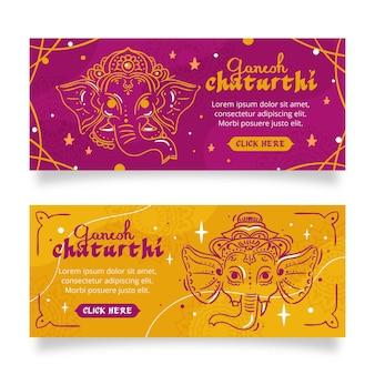 Ganesh chaturthi banners horizontales