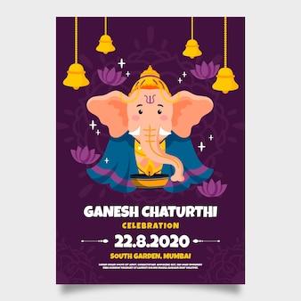 Ganesh chaturthi póster dibujo de plantilla