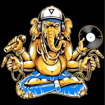 Ganesha con atributos musicales