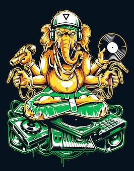 Ganesha dj sentada en material musical electrónico