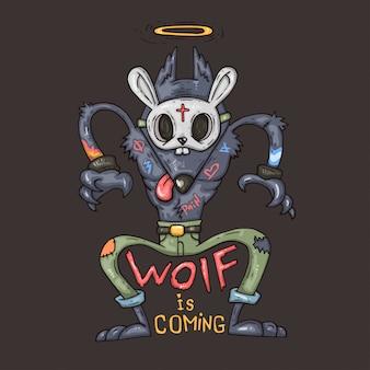 Gangster wolf, ilustración de dibujos animados.