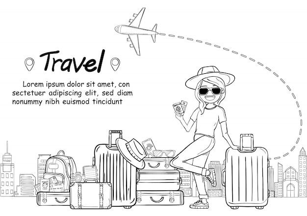 Garabatee al viajero lindo de la historieta de la mujer del drenaje de la mano con viaje del equipaje en todo el mundo concepto. dibujar a mano,