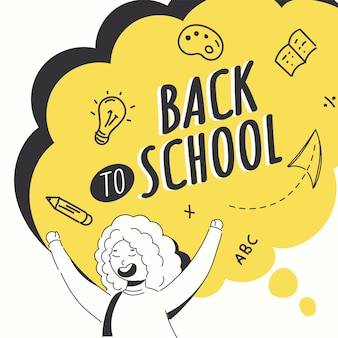 Garabatee la ilustración del estilo del carácter alegre de la muchacha con los elementos de las fuentes de educación en el fondo amarillo y blanco de la burbuja del discurso para el concepto de nuevo a la escuela.