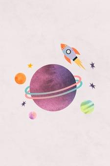 Garabato colorido de la acuarela de la galaxia con un cohete sobre fondo pastel