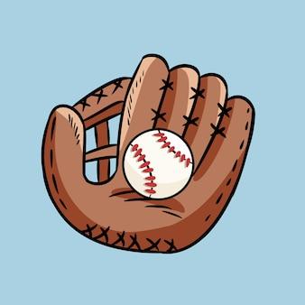Garabato dibujado mano del guante de béisbol que sostiene una bola. dibujo estilo caricatura, para carteles, decoración y estampado.