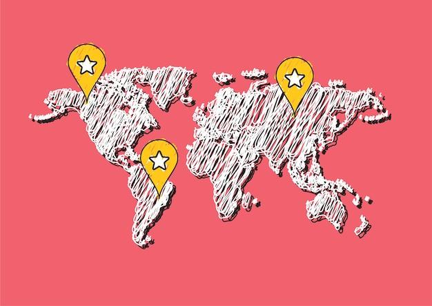 Garabato dibujo vector de mapa del mundo
