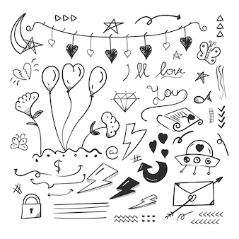 Garabatos abstractos elementos de doodle con concepto de amor