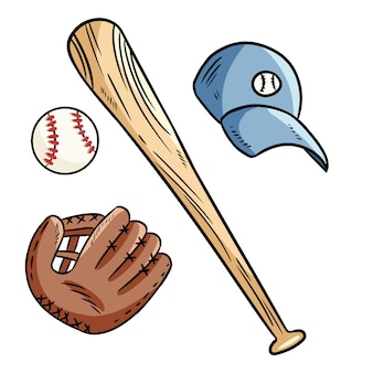 Garabatos de béisbol, bate de béisbol, gorro y guante.