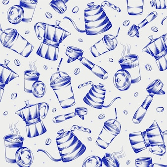 Garabatos de cafetería grabados dibujados a mano