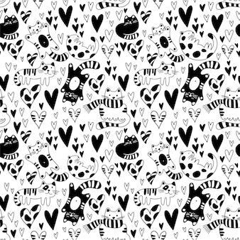 Garabatos de corazones y gatos de patrones sin fisuras del día de san valentín