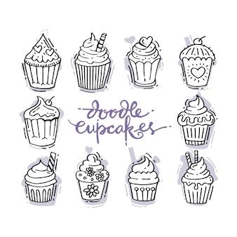 Garabatos con cupcakes dulces decorados