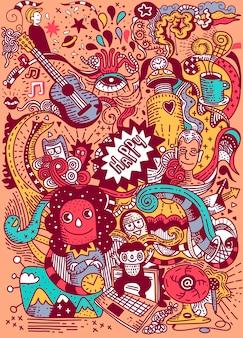 Garabatos dibujados a mano de dibujos animados plantilla de cartel de vacaciones. muy detallado, con gran cantidad de objetos ilustrados. ilustraciones divertidas. diseño de identidad corporativa.