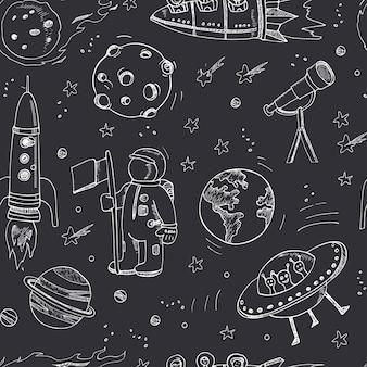 Garabatos dibujados a mano de dibujos animados sobre el tema del patrón espacial sin fisuras.