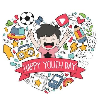 Garabatos dibujados a mano feliz día de la juventud patrón de adornos ilustración