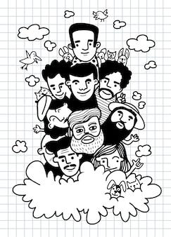 Garabatos dibujados a mano lindos, gente de la cara dibuja multitud de pueblos divertidos, cada uno en una capa separada.ilustración de libro para colorear