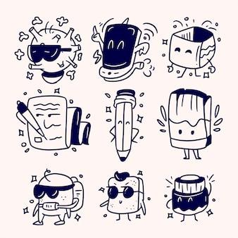 Garabatos divertidos con conjunto de monstruos, conjunto de monstruos de doodle