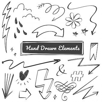 Garabatos de elementos dibujados a mano