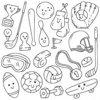 Garabatos de equipamiento deportivo en estilo kawaii line art