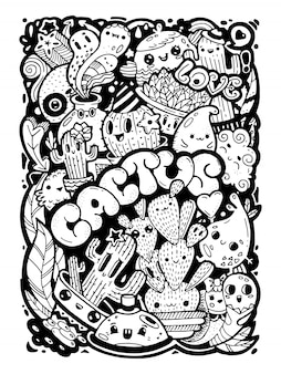 Garabatos kawaii estilo personajes de dibujos animados lindo. la tinta negra dibujada a mano ilustración y letras aman las plantas de cactus aisladas. doodle cara de niño y elementos. página para colorear