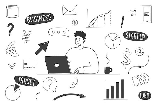 Garabatos de negocios dibujados a mano con un hombre que trabaja en una computadora.