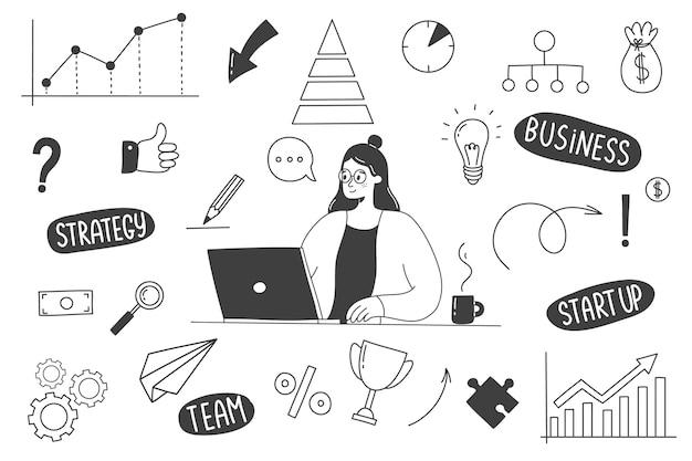 Garabatos de negocios dibujados a mano con una mujer que trabaja en una computadora.