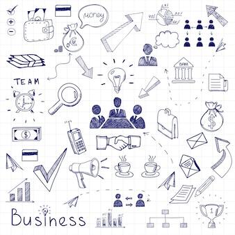 Garabatos de negocios vectoriales con diagramas, seres humanos y bombillas de ideas