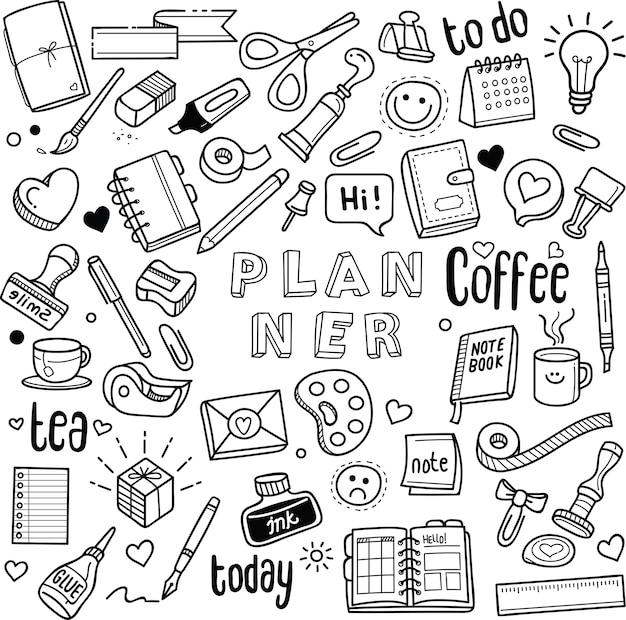 Garabatos de planificador y diario