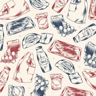 Garabatos de supermercado grabados dibujados a mano