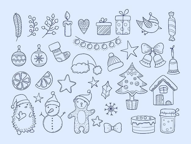 Garabatos de temporada de invierno. año nuevo feliz navidad colección copos de nieve animales ropa regalos divertidos elementos dibujados a mano para la celebración. guirnalda de navidad y erizo, muñeco de nieve y oso doodle ilustración
