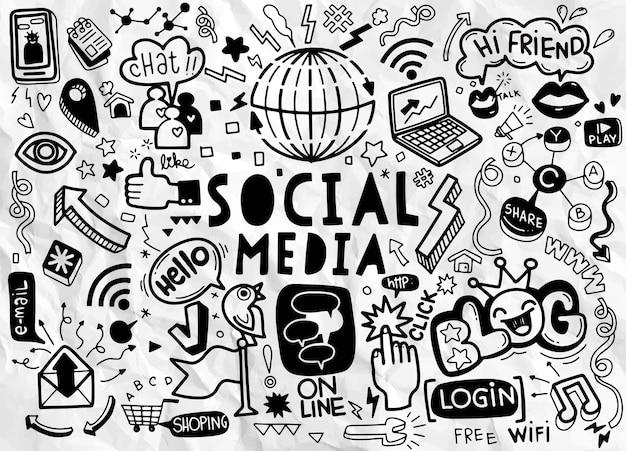 Garabatos vectoriales de redes sociales., conjunto de dibujos animados de doodle de arte de línea vectorial de objetos y símbolos sobre el tema de las redes sociales